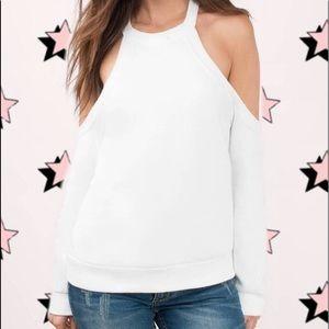 White Cold Shoulder Sweatshirt